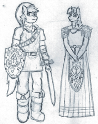 Size: 1520x1920 | Tagged: safe, artist:unluckytoonlink, quarter hearts, twilight sparkle, anthro, crossover, female, grayscale, link, male, monochrome, ocarina of time, princess zelda, shipping, straight, the legend of zelda, traditional art, twilight princess, twizelda, unicorn twilight
