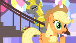 Size: 1366x768 | Tagged: safe, screencap, applejack, the ending of the end, spoiler:s09e24, apple, armor, balloon, bucket, food, royal guard, stairs, suspicious