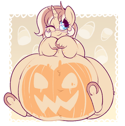 Size: 742x752 | Tagged: adorafatty, artist:lulubell, belly, belly button, big belly, chubby, cute, fat, female, glasses, halloween, holiday, jack-o-lantern, large belly, mare, obese, oc, ocbetes, oc:lulubell, oc only, one eye closed, paint on fur, pony, pumpkin, safe, solo, wink