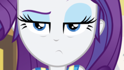 Size: 1164x655   Tagged: safe, screencap, rarity, equestria girls, equestria girls series, holidays unwrapped, spoiler:eqg series (season 2), close-up, exhausted, eyeshadow, frown, lidded eyes, looking at you, makeup, unamused