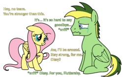 Size: 1133x705 | Tagged: artist:didgereethebrony, base used, crying, dialogue, fluttershy, missing cutie mark, oc, oc:didgeree, pegasus, pony, safe, simple background, teary eyes, trace, transparent background