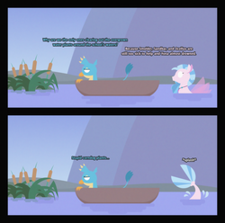 Size: 3676x3651 | Tagged: safe, artist:gd_inuk, gallus, silverstream, griffon, seapony (g4), 2 panel comic, blank eyes, boat, cattails, comic, dialogue, duo, empty eyes, female, gallus is not amused, implied ocellus, implied sandbar, implied smolder, implied yona, inktober, inktober 2019, lineless, male, no mouth, no pupils, plant, seapony silverstream, splash, stylized, swimming, unamused, water