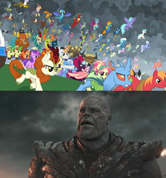 Size: 1273x1365 | Tagged: amethyst star, autumn blaze, avengers assemble, avengers: endgame, awesome, ballista, big macintosh, billy (dragon), blaze, chancellor neighsay, changedling, changeling, chief thunderhooves, clothes, clump, crystal pony, dragon, edit, edited screencap, endgame, equestria assemble, everycreature, everyone is here, everypony, evil grin, final battle, firelight, fizzlepop berrytwist, flam, fleetfoot, flim, fume, gabby, garble, gilda, grampa gruff, greta, griffon, grin, hippogriff, king thorax, kirin, lemon hearts, little strongheart, lyra heartstrings, meme, minuette, moondancer, night light, party favor, pharynx, prince pharynx, prince rutherford, princess ember, prominence, rain shine, safe, scared, screencap, seaspray, shocked, sky beak, smiling, soarin', sparkler, spear (dragon), spitfire, spoiler:s09e24, spoiler:s09e25, stellar flare, sunburst, tempest shadow, terramar, thanos, the ending of the end, this will end in pain, thorax, trixie, twilight velvet, uniform, wonderbolts uniform, zecora