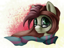 Size: 1900x1435 | Tagged: artist:xxcrazzzyxx, clothes, digital art, female, gift art, glasses, green eyes, mare, oc, oc only, pony, safe, scarf, solo