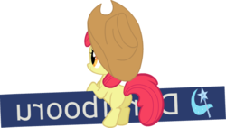 Size: 650x368 | Tagged: animated, animated png, apple bloom, derpibooru, hat, meta, pony, safe, simple background, solo, transparent background, vector