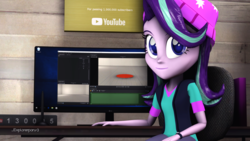 Size: 1920x1080 | Tagged: 3d, artist:explorerpony3, desktop, equestria girls, looking at you, monitor, safe, sitting, starlight glimmer