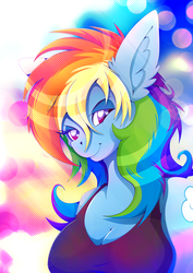 Size: 1358x1920 | Tagged: anthro, artist:rariedash, breasts, busty rainbow dash, cleavage, clothes, digital art, female, rainbow dash, safe, smiling, solo
