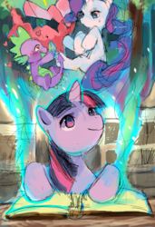 Size: 873x1280 | Tagged: alternate version, artist:suikuzu, book, dragon, female, heart eyes, male, mare, pinkie pie, pony, rarity, safe, spike, twilight sparkle, unicorn, unicorn twilight, wingding eyes