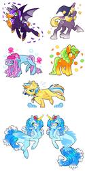 Size: 1490x2991   Tagged: safe, artist:nelebratory, oc, bat pony, earth pony, jellyfish, merpony, pegasus, pony, unicorn, whistle