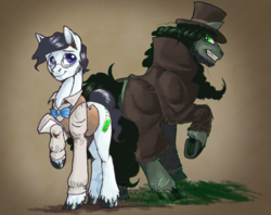Size: 2530x2000 | Tagged: artist:chickenwhite, clothes, dr jekyll and mr hyde, duality, duo, earth pony, glasses, jekyll & hyde, male, ponified, pony, safe, simple background, stallion