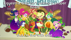 Size: 1280x720   Tagged: safe, edit, edited screencap, screencap, applejack, fluttershy, pinkie pie, rainbow dash, rarity, sci-twi, sunset shimmer, twilight sparkle, equestria girls, equestria girls series, holidays unwrapped, spoiler:eqg series (season 2), caption, clothes, comments locked down, cornucopia, costume, discussion in the comments, dress, female, fruit, humane five, humane seven, humane six, image macro, inflatable, inflatable dress, plusplus, text, the end of equestria girls