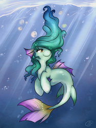Size: 1024x1365 | Tagged: safe, artist:meggchan, oc, oc only, sea pony, bubble, crepuscular rays, ocean, solo, underwater
