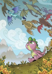 Size: 2550x3600   Tagged: safe, artist:brendahickey, clump, princess ember, spike, viverno, dragon, cute, dragon migration, dragoness, female, flower, flying, happy, looking at something, looking up, male, mountain, scenery, sitting, spikabetes, spread wings, wings