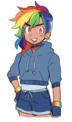 Size: 399x675 | Tagged: alternate hairstyle, artist:bonsaisonly, choker, clothes, ear piercing, earring, female, fingerless gloves, gloves, hoodie, human, humanized, jewelry, open mouth, piercing, rainbow dash, safe, shirt, shorts, simple background, solo, sports shorts, white background, wristband