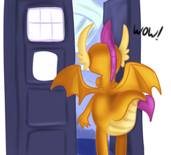 Size: 794x720 | Tagged: a horse shoe-in, artist:jbond, crossover, doctor who, facing away, rear view, safe, smolder, solo, spoiler:s09e20, tardis, text, wow