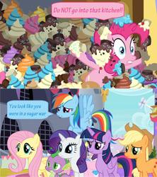 Size: 1366x1536 | Tagged: alicorn, applejack safe, avalanche, bow, comic, cupcake, dialogue, dragon, edit, edited screencap, electric fan, fluttershy, flying, food, mess, pinkie pie, rainbow dash, rarity safe, safe, screencap, screencap comic, speech bubble, spike, spoiler:s09e24, sprinkles, the ending of the end, twilight sparkle, twilight sparkle (alicorn), window, winged spike