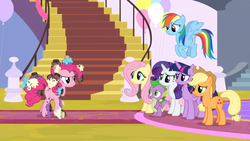 Size: 1366x768 | Tagged: alicorn, applejack, balloon, carpet, dragon, fluttershy, flying, food, frosting, mane six, messy, pinkie pie, rainbow dash, rarity, safe, screencap, spike, spoiler:s09e24, sprinkles, stairs, the ending of the end, twilight sparkle, twilight sparkle (alicorn), winged spike