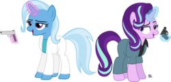 Size: 2870x1381 | Tagged: .38 special, 80s, artist:anime-equestria, clothes, detective, duo, gun, handgun, happy, jacket, m1911, magic, miami vice, revolver, safe, shirt, simple background, starlight glimmer, suit, telekinesis, transparent background, trixie, unicorn, vector, weapon