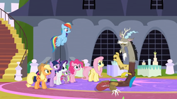 Size: 1366x768   Tagged: safe, screencap, applejack, discord, fluttershy, pinkie pie, rainbow dash, rarity, spike, twilight sparkle, alicorn, dragon, the ending of the end, exhausted, flying, mane six, stairs, table, tired, twilight sparkle (alicorn), wince, window, winged spike