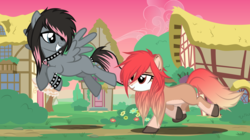 Size: 4778x2684 | Tagged: artist:tsabak, choker, earth pony, female, flying, high res, mare, oc, oc only, pegasus, pony, safe, spiked choker, spiked wristband, vector, wristband