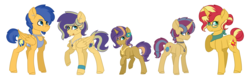Size: 2440x758 | Tagged: safe, artist:king-justin, flash sentry, sunset shimmer, oc, oc:lavender dawn, oc:saturn bliss, oc:ying yang, pony, unicorn, alternate hairstyle, choker, colt, ear piercing, family, female, filly, flashimmer, flower, flower in hair, freckles, glasses, jewelry, male, necklace, offspring, parent:flash sentry, parent:sunset shimmer, parents:flashimmer, piercing, shipping, straight, tongue out, tongue piercing