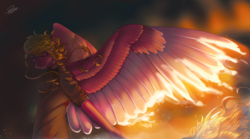 Size: 3780x2100 | Tagged: anthro, artist:orfartina, clothes, eyes closed, fire, high res, large wings, oc, oc only, pegasus, pony, safe, shirt, solo, wings