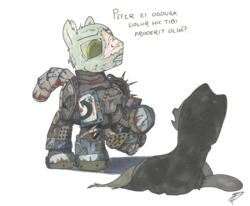 Size: 2693x2218 | Tagged: safe, artist:brisineo, oc, oc only, oc:titan, earth pony, ghoul, pony, undead, fallout equestria, fallout equestria: broken bonds, armor, cloak, clothes, fanfic art, female, intimidating, latin, male, mare, power armor, stallion