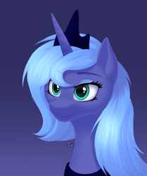 Size: 2331x2787 | Tagged: alicorn, artist:lesik-starshade, artist:starshade, bust, crown, cute, eyeshadow, female, gradient background, high res, jewelry, lidded eyes, makeup, mare, peytral, pony, portrait, princess luna, regalia, s1 luna, safe, smiling, solo