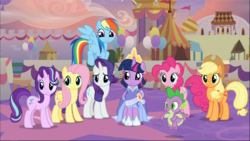 Size: 1669x941 | Tagged: safe, screencap, applejack, fluttershy, pinkie pie, rainbow dash, rarity, spike, starlight glimmer, twilight sparkle, alicorn, dragon, earth pony, pegasus, pony, unicorn, the last problem, applejack's hat, clothes, coronation dress, cowboy hat, cropped, crown, dress, female, group, hat, jewelry, male, mane eight, mane six, mare, regalia, second coronation dress, smiling, twilight sparkle (alicorn), winged spike
