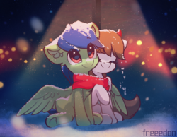 Size: 1800x1400 | Tagged: artist:freeedon, clothes, cold, earth pony, hug, lamp post, oc, oc:block rain, outdoors, pegasus, pony, safe, scarf, shared clothing, shared scarf, sitting, smiling, snow, spread wings, wings, winter
