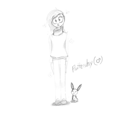 Size: 1792x1668 | Tagged: angel bunny, animal, artist:flotsam, butterscotch, clothes, fluttershy, human, humanized, male, rabbit, rule 63, safe, sweater, sweatershy