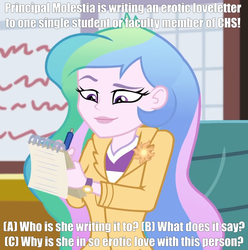 Size: 1005x1014 | Tagged: safe, derpibooru exclusive, edit, edited edit, edited screencap, screencap, princess celestia, princess molestia, equestria girls, equestria girls series, schedule swap, spoiler:eqg series (season 2), blazer, canterlot high, caption, chair, clock, clothes, cropped, cutie mark, exclamation point, eyebrows, eyelashes, eyes open, female, happy, holiday, indoors, jacket, lipstick, meme, notepad, paper, pen, pencil, pin, principal celestia, principal molestia, question, question mark, shirt, smiling, solo, symbol, t-shirt, text, wall of tags, watch, wristwatch, writing