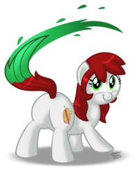 Size: 1024x1290 | Tagged: artist:aleximusprime, butt, cute, earth pony, female, looking at you, looking back, looking back at you, mare, oc, ocbetes, oc only, oc:palette swap, paintbrush, plot, pony, safe, simple background, smiling, solo, tail twirl, transparent background