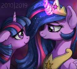 Size: 2798x2519   Tagged: safe, artist:celsian, twilight sparkle, alicorn, pony, unicorn, the last problem, crown, ear fluff, end of ponies, female, floppy ears, flowing mane, glowing horn, happy birthday mlp:fim, horn, jewelry, looking at each other, magic, magic aura, mare, mlp fim's ninth anniversary, older, older twilight, princess twilight 2.0, regalia, self ponidox, signature, smiling, telekinesis, then and now, twilight sparkle (alicorn), unicorn twilight
