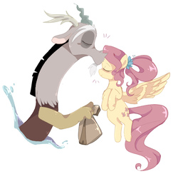 Size: 747x730 | Tagged: safe, artist:sansdy, discord, fluttershy, draconequus, pegasus, pony, the last problem, spoiler:s09e26, cute, discoshy, discute, eyes closed, female, forehead kiss, kissing, lunch bag, male, mare, older, older fluttershy, shipping, simple background, straight, white background