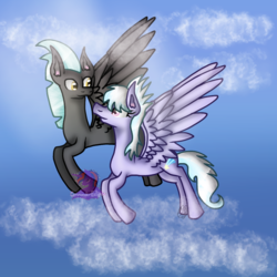 Size: 768x768 | Tagged: safe, artist:commandereclipse, cloudchaser, thunderlane, pony, female, male, shipping, straight, thunderchaser