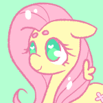 Size: 150x150 | Tagged: artist:softyshy, bust, cute, female, floppy ears, fluttershy, heart eyes, icon, mare, no pupils, pegasus, pony, portrait, safe, shyabetes, simple background, solo, teal background, wingding eyes