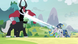 Size: 1366x768 | Tagged: blast, bracer, centaur, cloven hooves, curved horn, earth pony, eyes closed, female, gas, hat, horn, laughing, lord tirek, magic, magic beam, magic blast, male, mare, mask, meadowbrook, mistmane, mountain, nose piercing, nose ring, outdoors, piercing, pony, safe, screencap, solo, spoiler:s09e24, stallion, star swirl the bearded, taunting, the ending of the end, unicorn