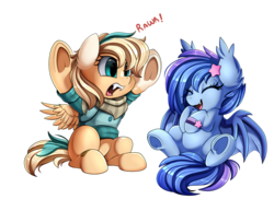 Size: 3509x2550 | Tagged: artist:pridark, bandana, bat pony, bat pony oc, clothes, commission, cute, eyes closed, fangs, high res, laughing, oc, oc:astral flare, ocbetes, oc only, oc:sun light, open mouth, pegasus, pony, rawr, safe, simple background, sweater, transparent background, underhoof