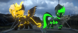 Size: 3840x1620 | Tagged: 3d, artist:phoenixtm, battle stance, cybernetic enhancement, cyborg, cyborg dracony, dracony, dracony alicorn, dragon, hybrid, looking at camera, minigun, oc, oc:defense matrix, oc:phoenix stardash, pony, robot, robot pony, safe, unicorn, weapon