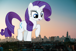 Size: 1280x854 | Tagged: chicago, city, female, giantess, giant pony, highrise ponies, illinois, irl, macro, mare, mega rarity, photo, ponies in real life, pony, raised hoof, rarity, safe