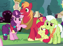 Size: 792x582 | Tagged: safe, screencap, apple bloom, big macintosh, granny smith, sugar belle, earth pony, pony, unicorn, the ending of the end, concerned, cropped, female, filly, frown, hug, husband and wife, male, mare, nervous, ponyville, rearing, scared, shipping, sitting, stallion, straight, sugarmac, worried