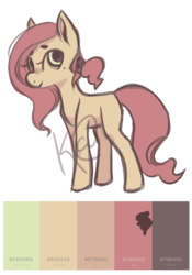 Size: 1400x2000 | Tagged: adoptable, artist:hippykat13, beauty mark, color palette, cute, earth pony, obtrusive watermark, oc, pony, ponytail, safe, solo, watermark