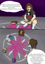 Size: 2480x3507 | Tagged: artist:mcsplosion, book, chalk drawing, chubby, clothes, comic, comic:twi-tulpa, figurine, frank zappa, genesis, human, insane troll logic, jar, long hair, male, ritual, safe, shorts, socks, the princess diaries, this will not end well, tulpamancy, twilight's cutie mark