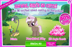 Size: 1034x672 | Tagged: safe, brown sugar, pony, unicorn, advertisement, costs real money, female, filly, gameloft, official, sale
