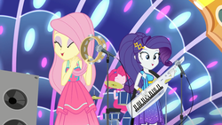Size: 1920x1080 | Tagged: all good (song), beautiful, cute, cymbals, drum kit, drums, drum set, equestria girls, equestria girls series, eyes closed, female, fluttershy, hi-hat, keytar, microphone, microphone stand, musical instrument, pinkie pie, raribetes, rarity, safe, screencap, shyabetes, speakers, spoiler:eqg series (season 2), spring breakdown, stage, tambourine