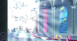 Size: 1366x724 | Tagged: safe, screencap, applejack, fluttershy, pinkie pie, princess celestia, rainbow dash, rarity, spike, twilight sparkle, alicorn, dragon, the ending of the end, spoiler:s09e24, banner, bright, broken, carpet, column, explosion, light, light rays, looking up, mane six, oh no, property damage, shattered, stained glass, this will end in death, this will end in tears, this will end in tears and/or death, twilight sparkle (alicorn), unconscious
