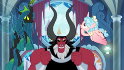 Size: 1366x768 | Tagged: safe, screencap, cozy glow, lord tirek, queen chrysalis, alicorn, centaur, changeling, changeling queen, pony, the ending of the end, alicornified, bell, bow, bracer, broken, column, cozycorn, crown, curtains, cute, cutealis, evil grin, female, filly, flying, foal, grin, grogar's bell, hair bow, jewelry, nose piercing, nose ring, open window, piercing, race swap, regalia, ruined, shards, shattered, smiling, tail bow, ultimate chrysalis