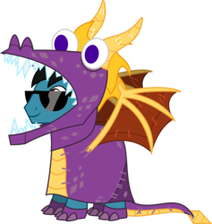Size: 3741x3941 | Tagged: artist:sketchmcreations, clothes, costume, dragon costume, earth pony, male, nightmare night, oc, oc:sketch mythos, pony, safe, simple background, solo, spyro, spyro the dragon, stallion, sunglasses, transparent background, vector