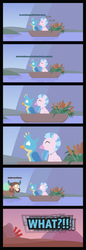 Size: 3676x10698 | Tagged: safe, artist:gd_inuk, gallus, silverstream, yona, classical hippogriff, griffon, hippogriff, yak, absurd resolution, blank eyes, boat, cattails, close-up, comic, dialogue, empty eyes, exclamation point, female, floating, gallstream, happy, implied sandbar, interrobang, lineless, male, no mouth, no pupils, plant, question mark, school of friendship, shipping, straight, stylized, zoom out